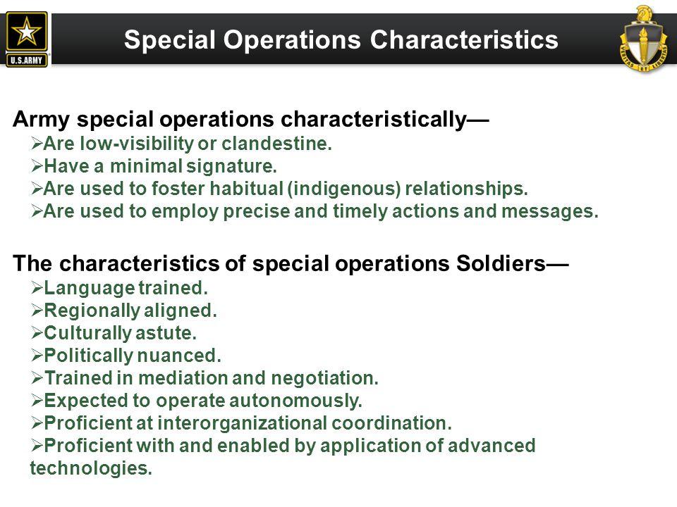 Special Operations Characteristics