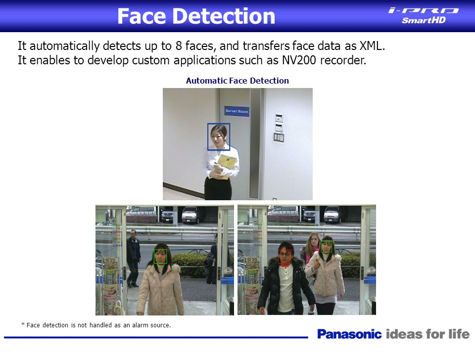 Face Detection It automatically detects up to 8 faces, and transfers face data as XML.