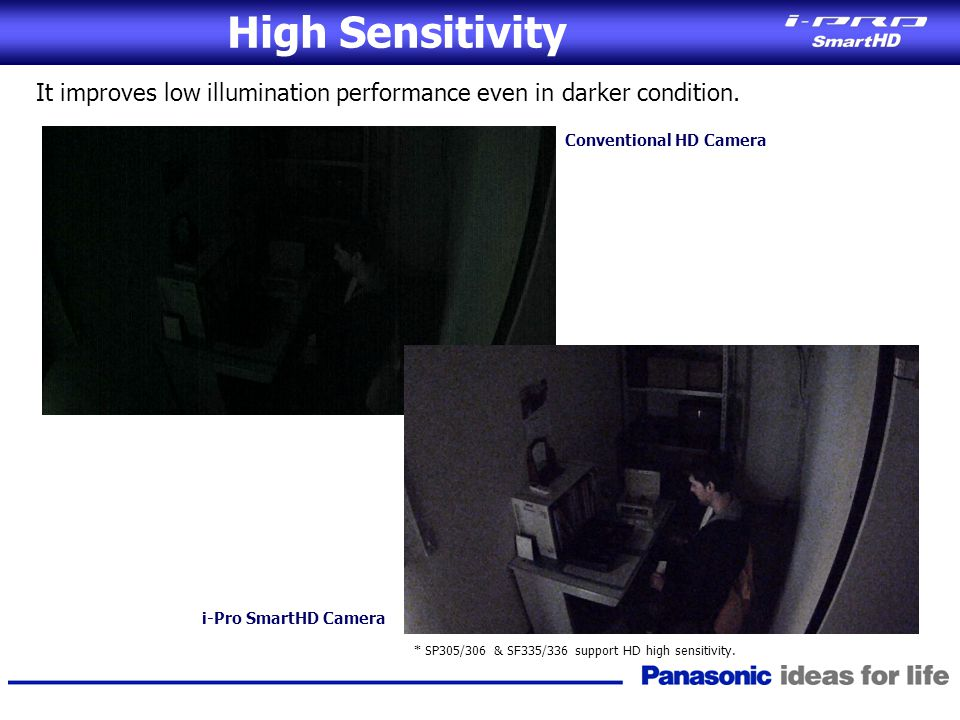 High Sensitivity It improves low illumination performance even in darker condition. Conventional HD Camera.