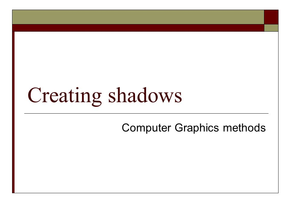 Computer Graphics methods