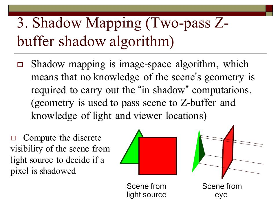 3. Shadow Mapping (Two-pass Z-buffer shadow algorithm)