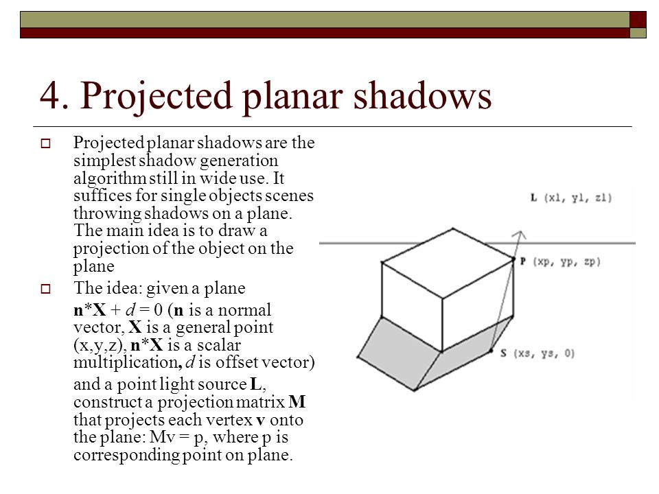 4. Projected planar shadows