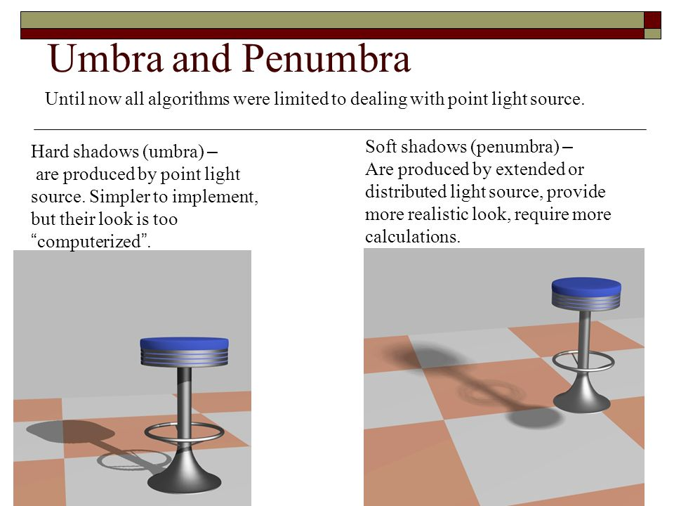 Umbra and Penumbra Until now all algorithms were limited to dealing with point light source. Soft shadows (penumbra) –