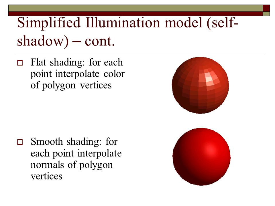 Simplified Illumination model (self-shadow) – cont.
