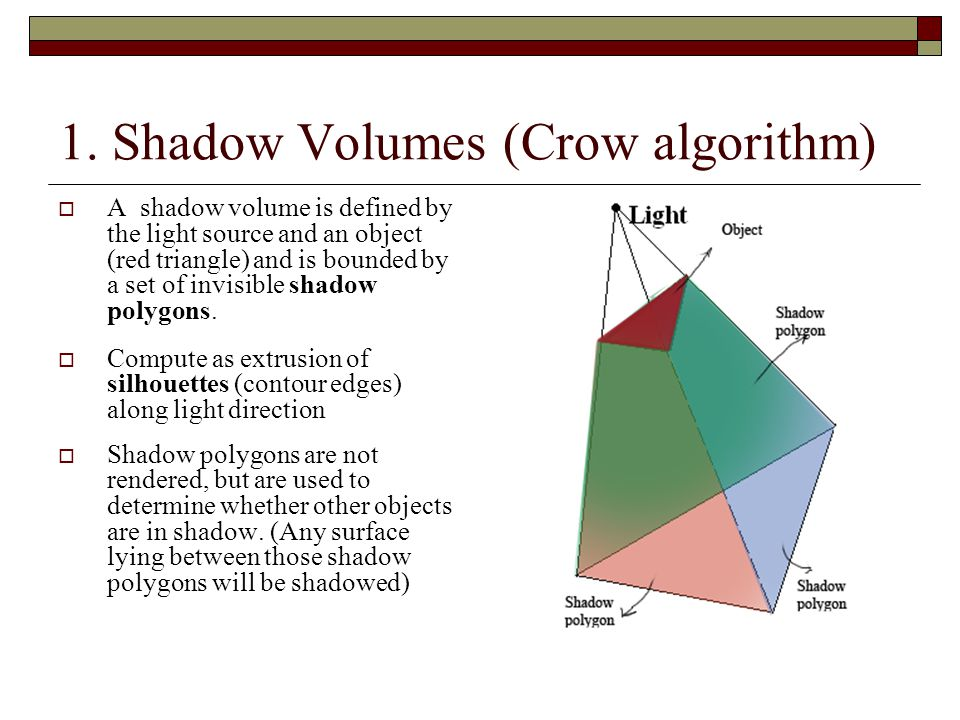 1. Shadow Volumes (Crow algorithm)
