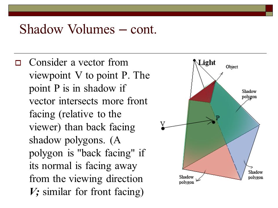 Shadow Volumes – cont.