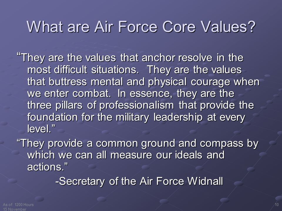 What are Air Force Core Values