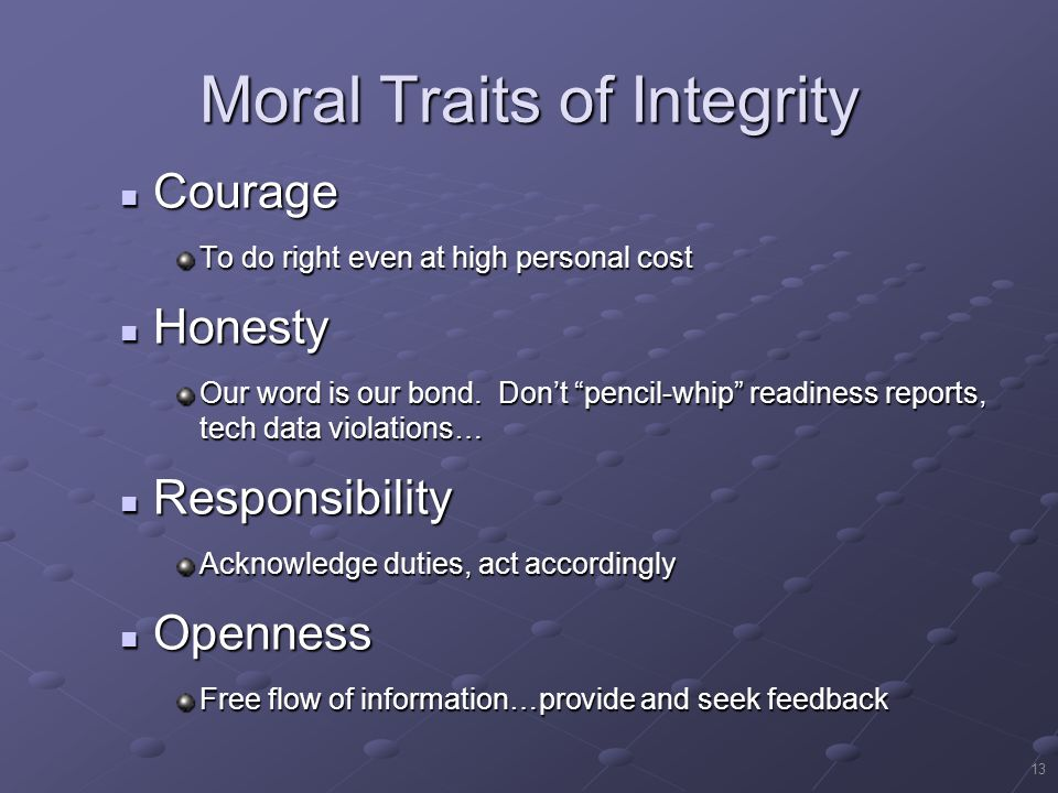 Moral Traits of Integrity