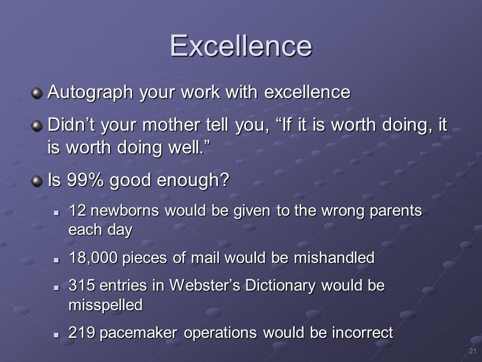 Excellence Autograph your work with excellence