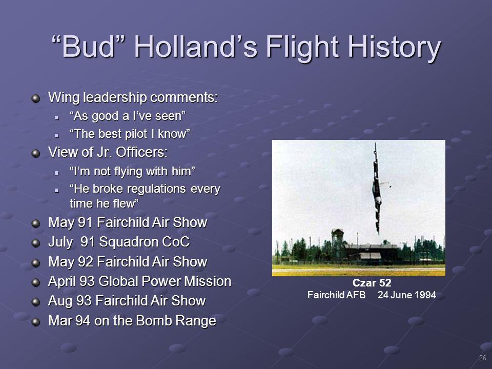 Bud Holland's Flight History