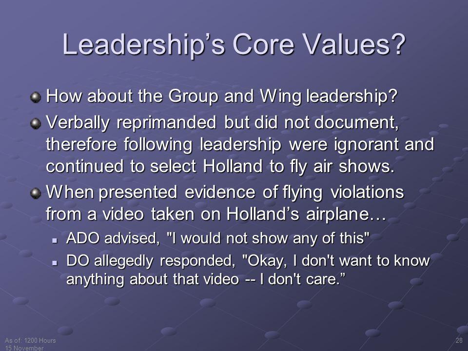 Leadership's Core Values