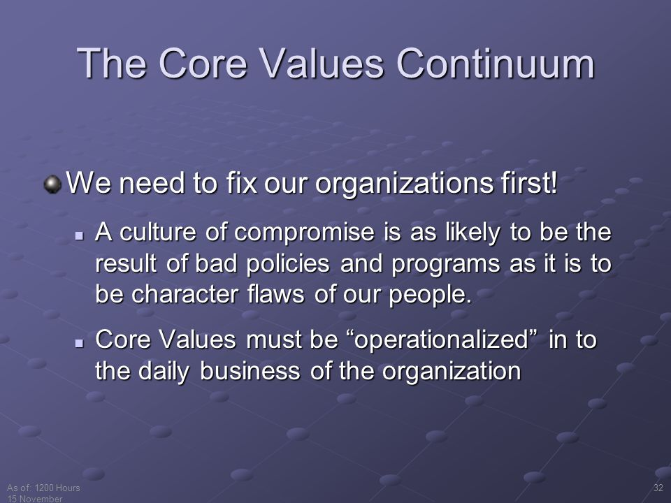 The Core Values Continuum
