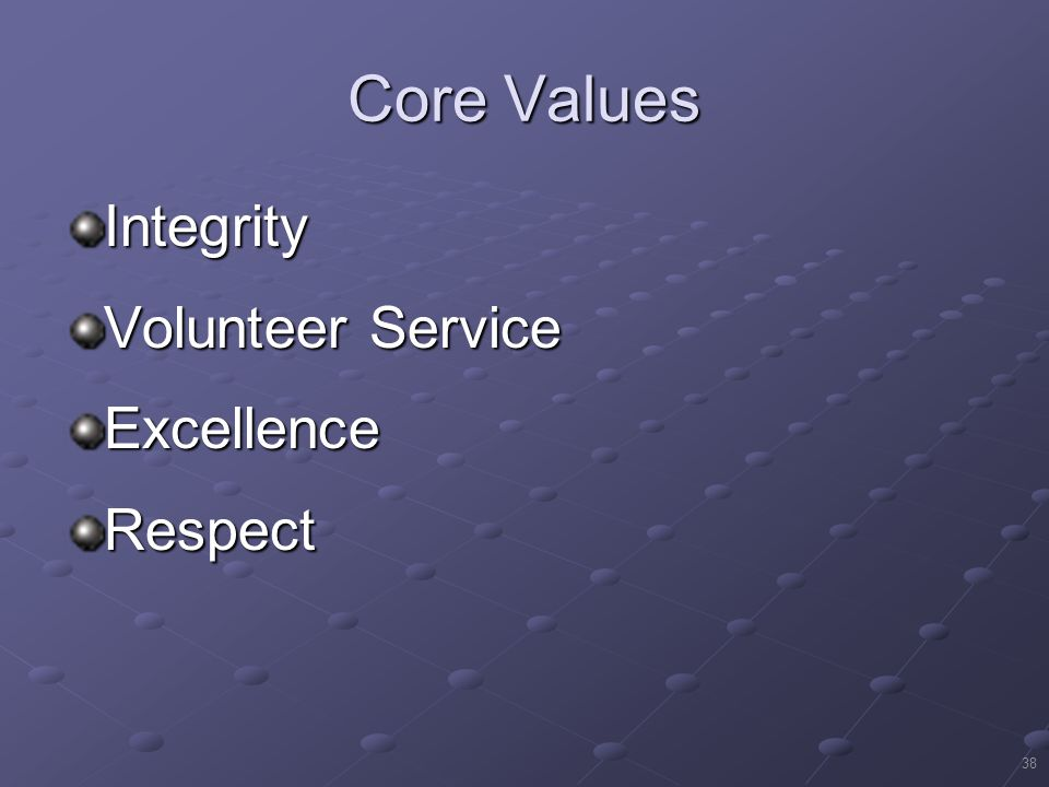 Core Values Integrity Volunteer Service Excellence Respect