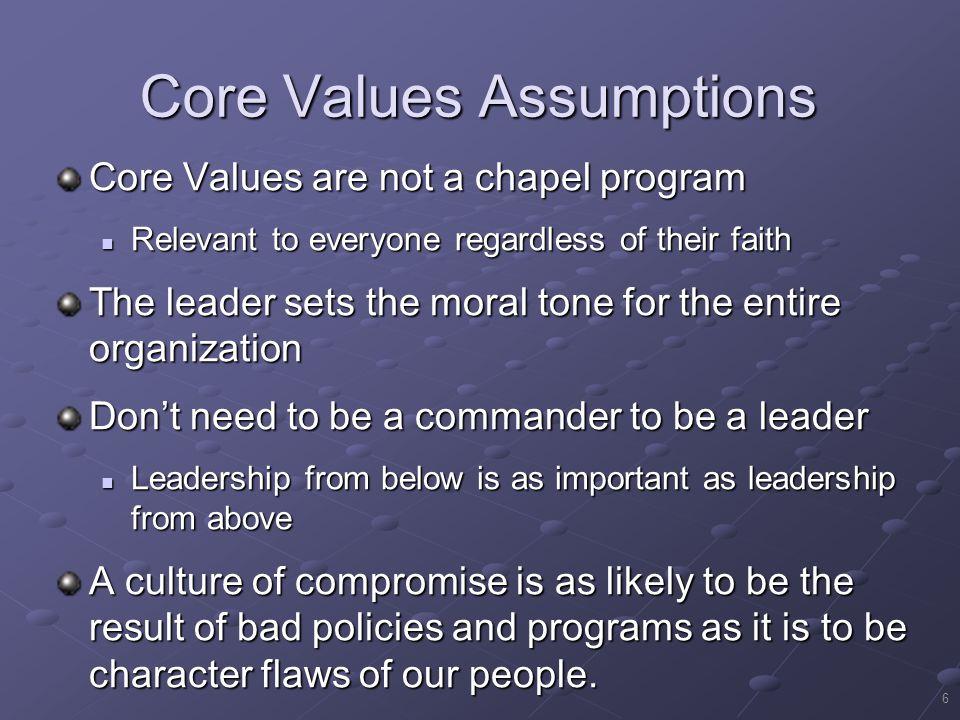 Core Values Assumptions