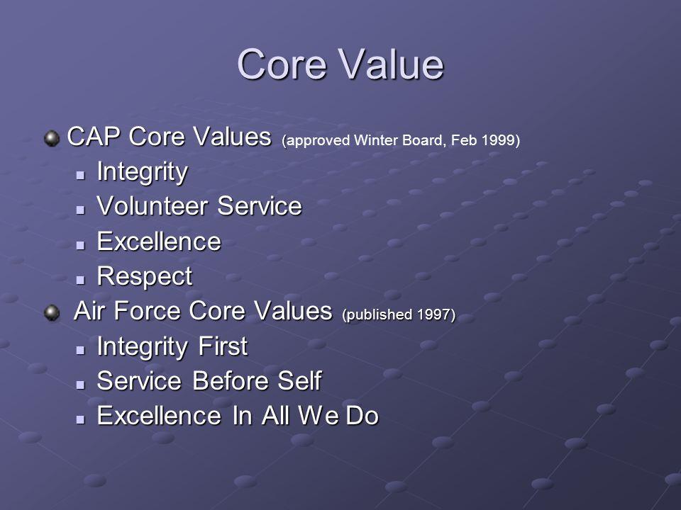 Core Value CAP Core Values (approved Winter Board, Feb 1999) Integrity
