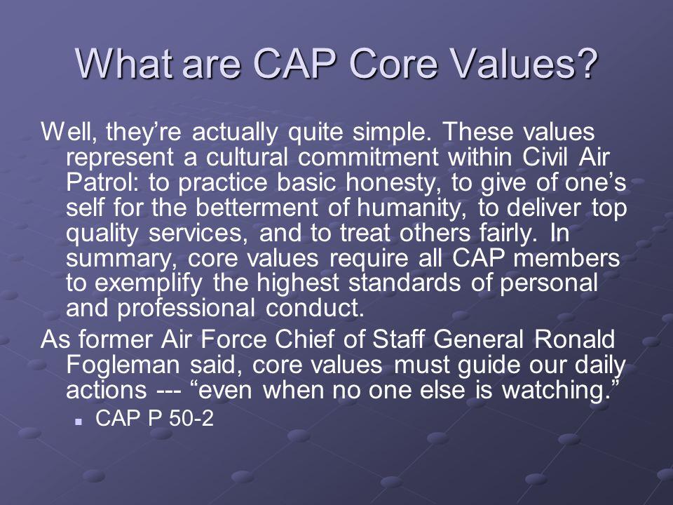 What are CAP Core Values