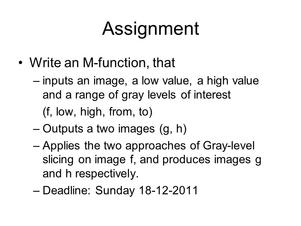 Assignment Write an M-function, that