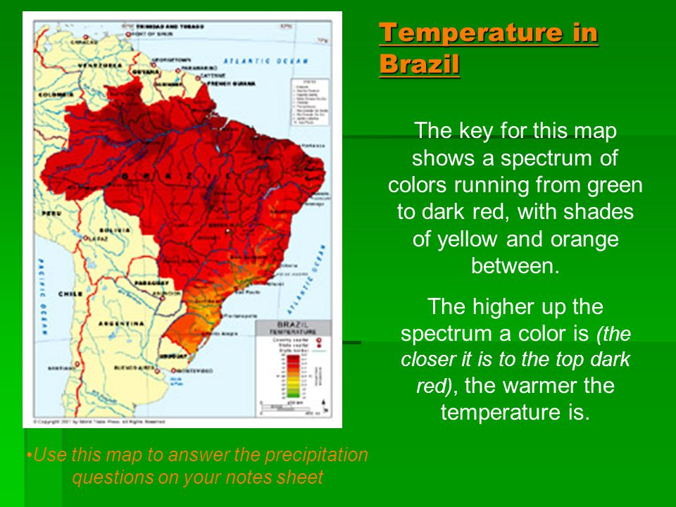 Use this map to answer the precipitation questions on your notes sheet