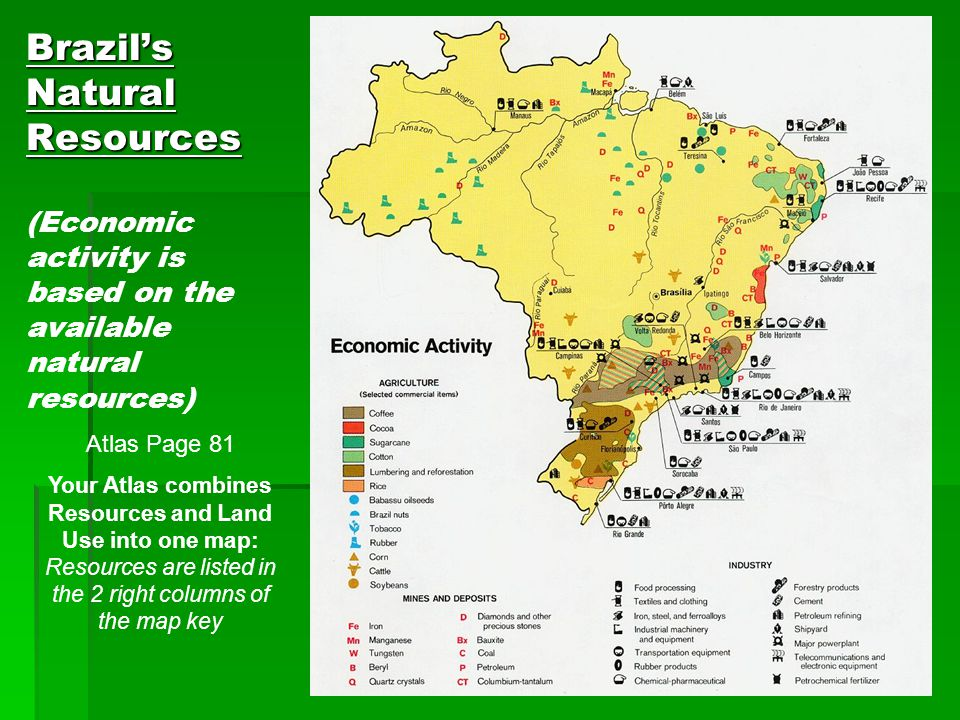 Brazil's Natural Resources (Economic activity is based on the available natural resources)