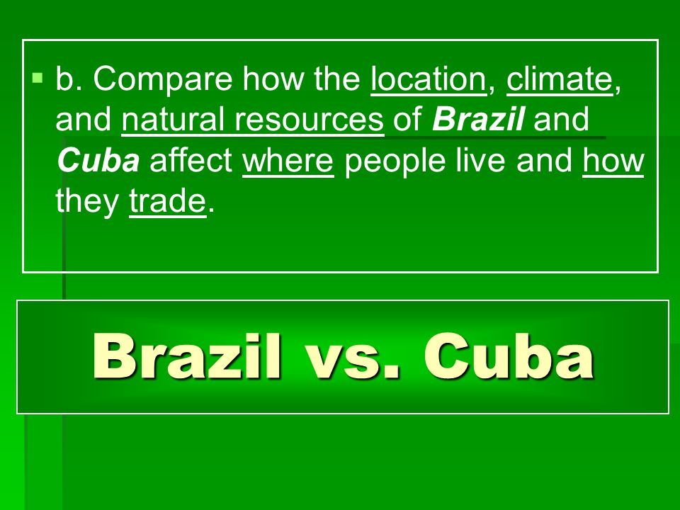 b. Compare how the location, climate, and natural resources of Brazil and Cuba affect where people live and how they trade.