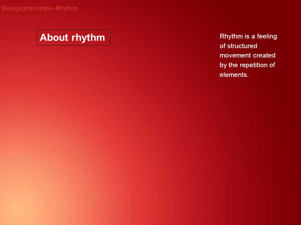 Design principles - Rhythm