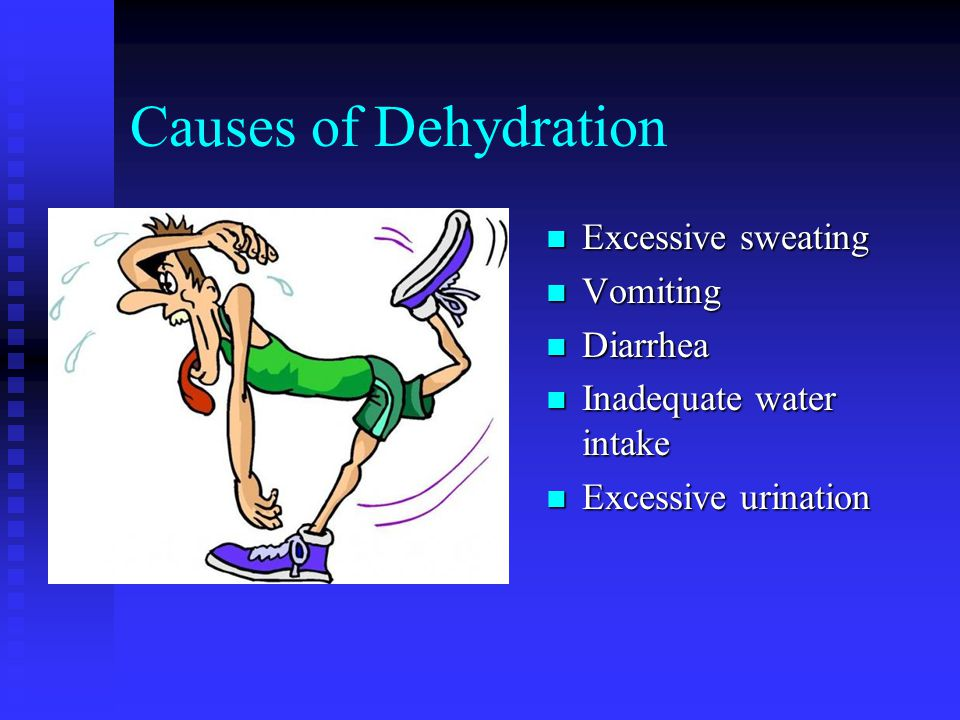 Causes of Dehydration Excessive sweating Vomiting Diarrhea