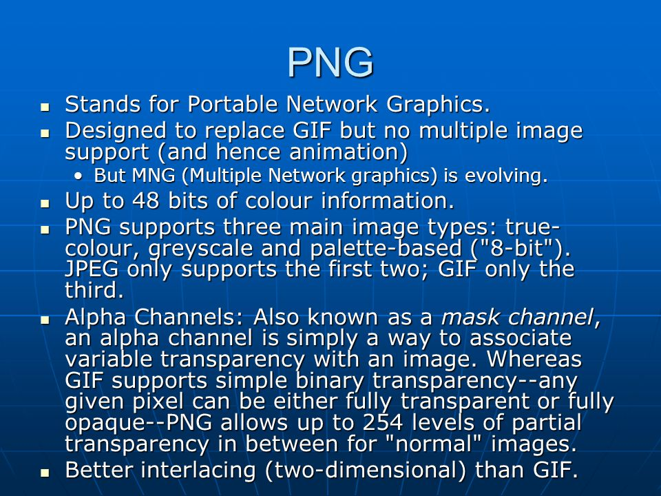 PNG Stands for Portable Network Graphics.