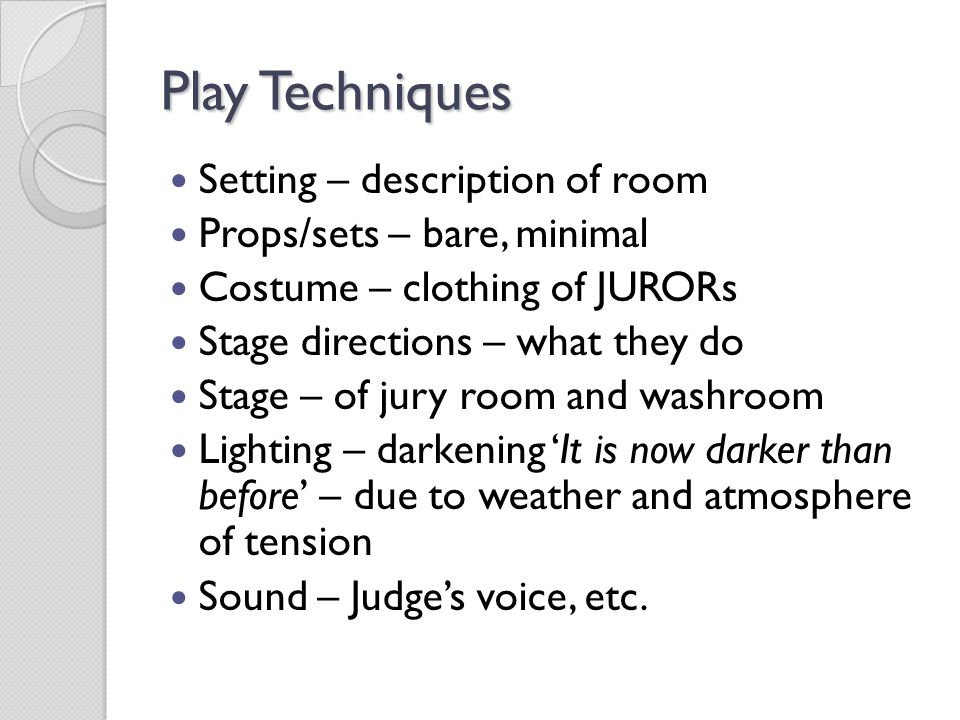 Play Techniques Setting – description of room