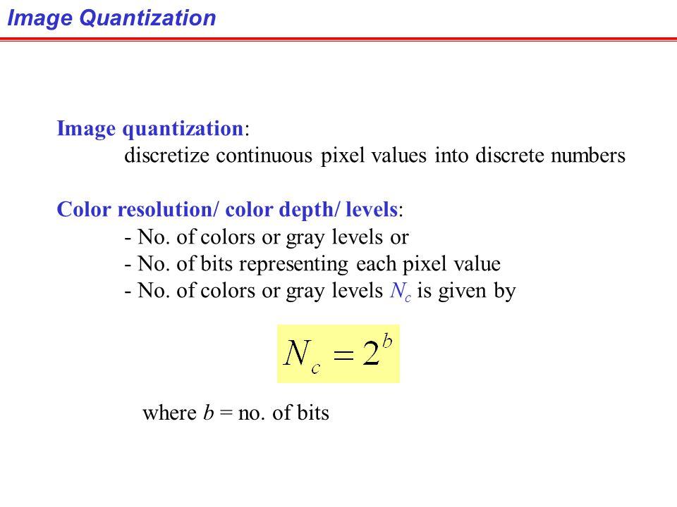 Image Quantization Image quantization: discretize continuous pixel values into discrete numbers. Color resolution/ color depth/ levels:
