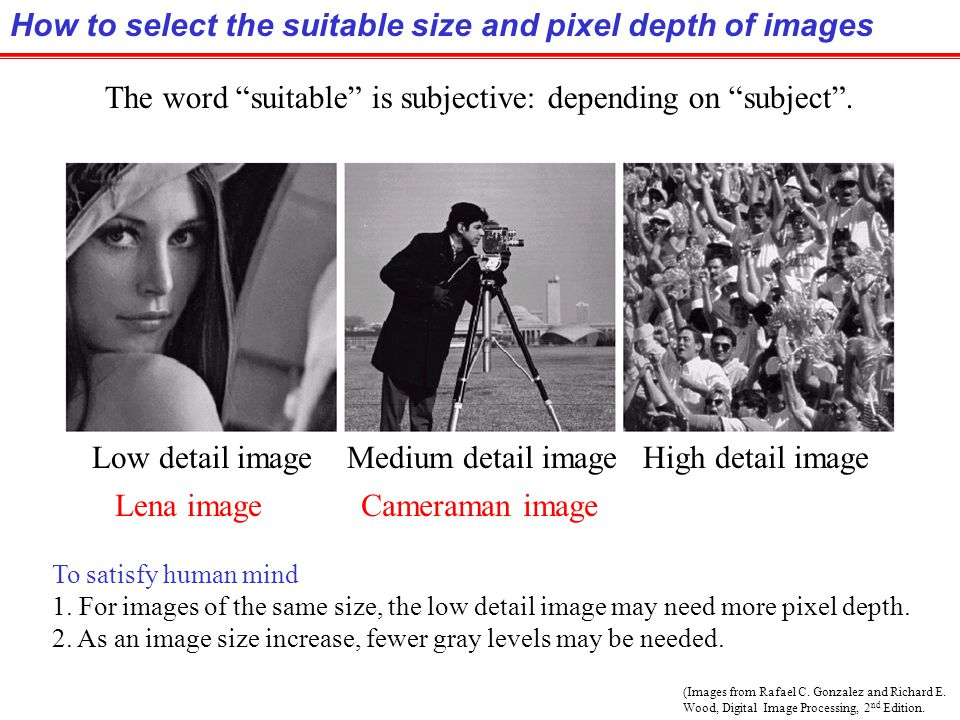 How to select the suitable size and pixel depth of images