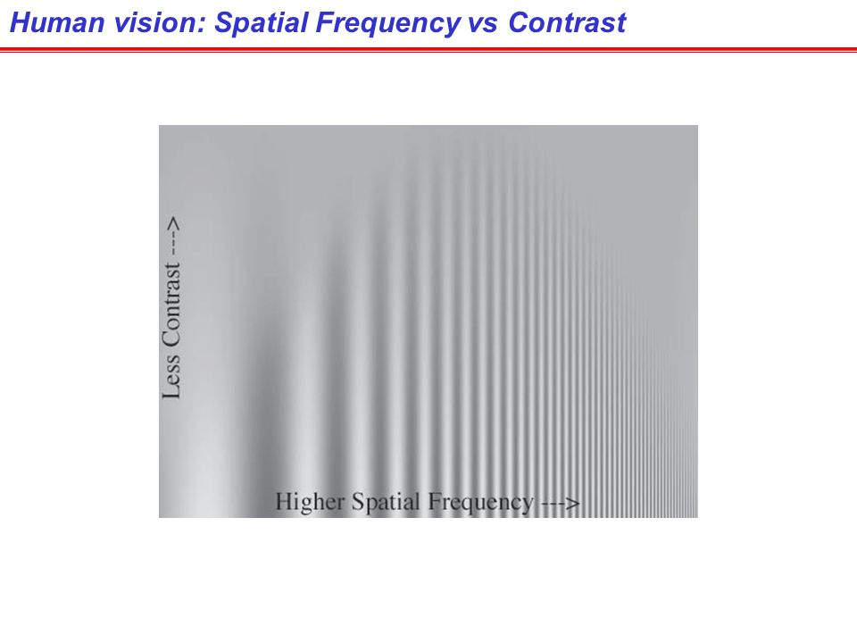Human vision: Spatial Frequency vs Contrast