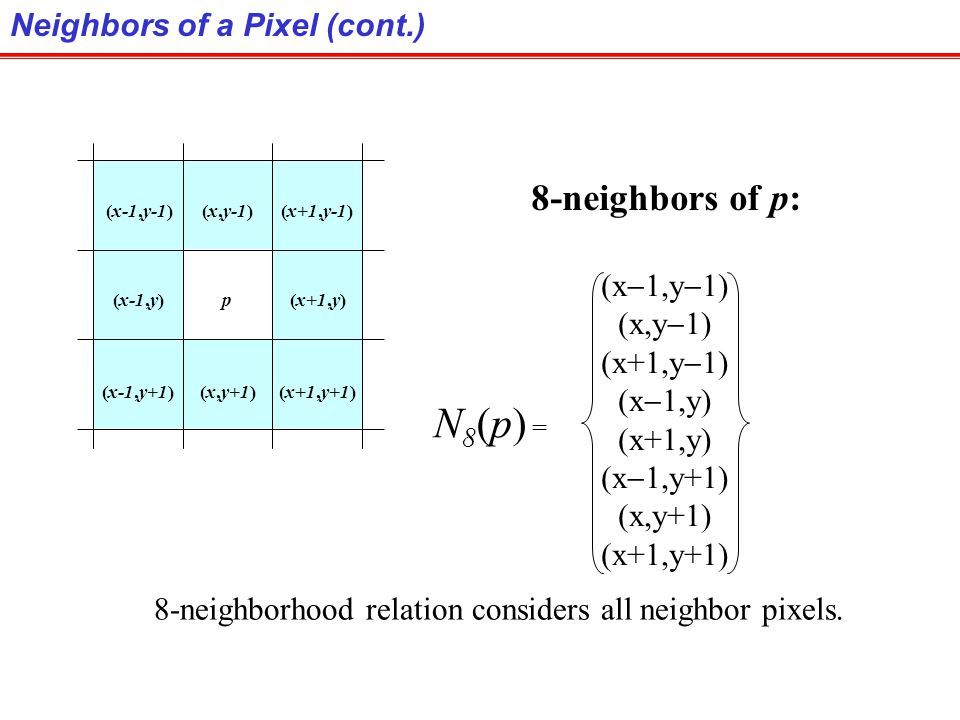 N8(p) = 8-neighbors of p: Neighbors of a Pixel (cont.) (x-1,y-1)