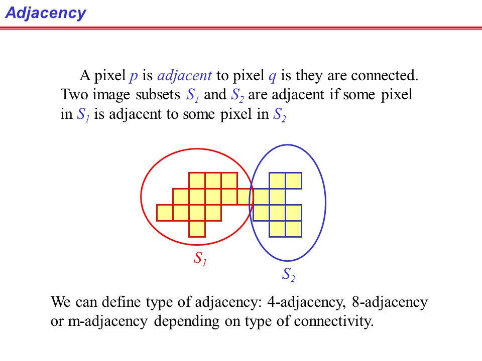 Adjacency A pixel p is adjacent to pixel q is they are connected. Two image subsets S1 and S2 are adjacent if some pixel.