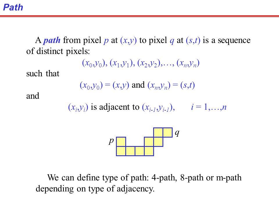 Path A path from pixel p at (x,y) to pixel q at (s,t) is a sequence. of distinct pixels: (x0,y0), (x1,y1), (x2,y2),…, (xn,yn)