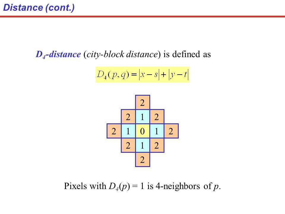 Distance (cont.) D4-distance (city-block distance) is defined as.