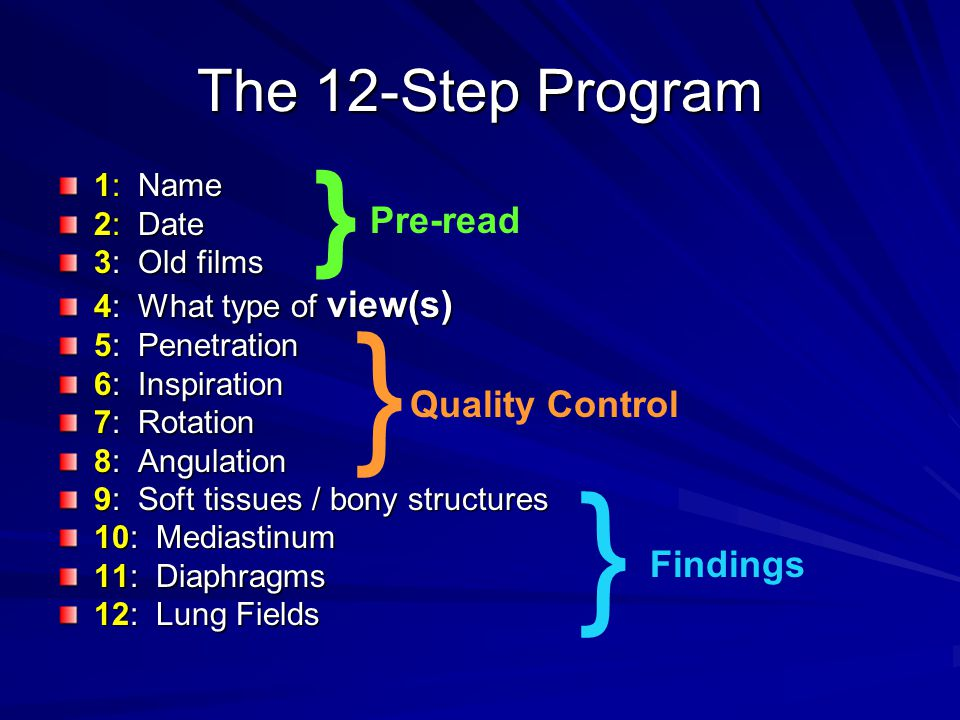 } } } The 12-Step Program Pre-read Quality Control Findings 1: Name