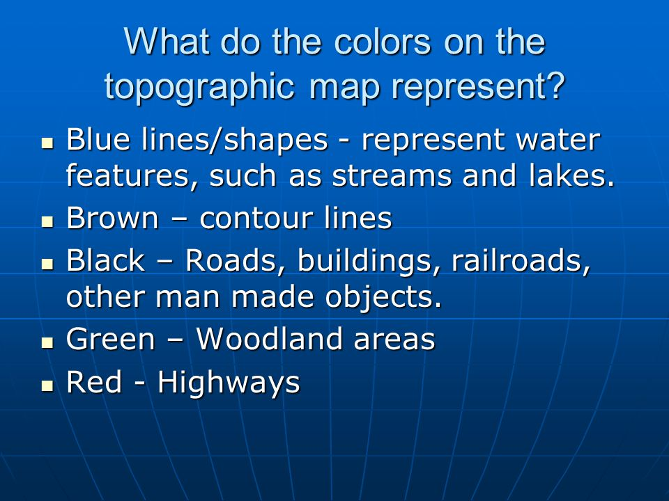 What do the colors on the topographic map represent
