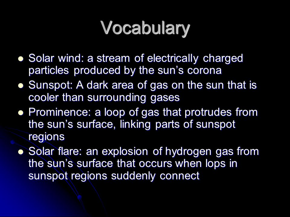 Vocabulary Solar wind: a stream of electrically charged particles produced by the sun's corona.