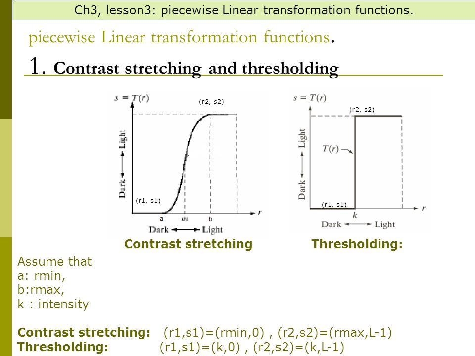 Ch3, lesson3: piecewise Linear transformation functions.