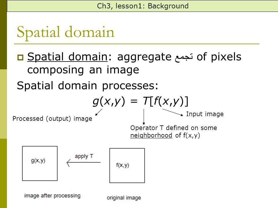 Ch3, lesson1: Background Spatial domain. Spatial domain: aggregateتجمع of pixels composing an image.