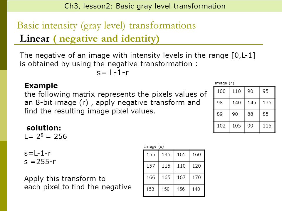 Ch3, lesson2: Basic gray level transformation