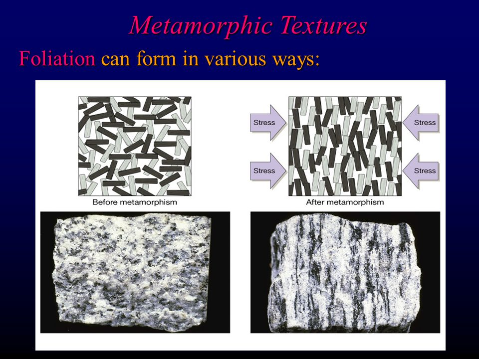 Metamorphic Textures Foliation can form in various ways: