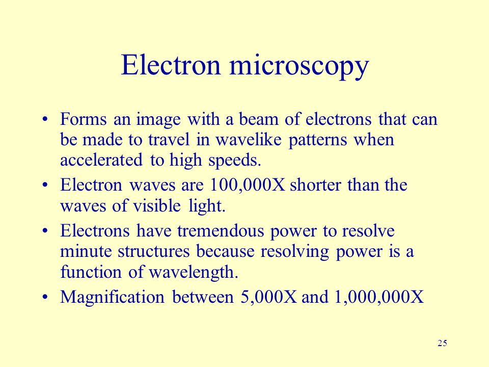Electron microscopy Forms an image with a beam of electrons that can be made to travel in wavelike patterns when accelerated to high speeds.