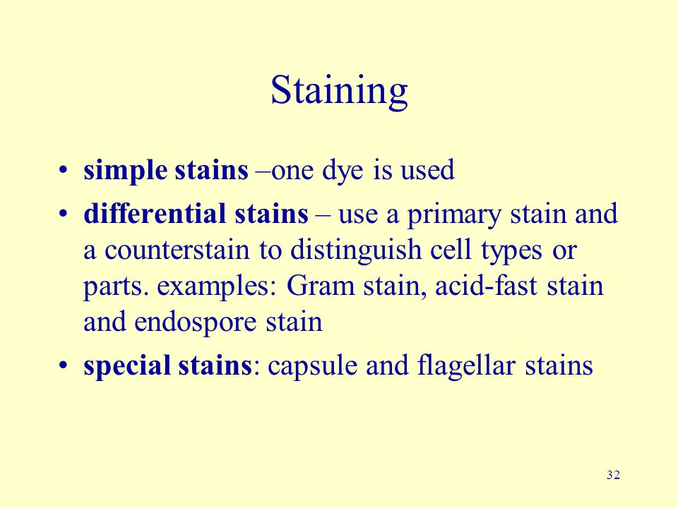 Staining simple stains –one dye is used