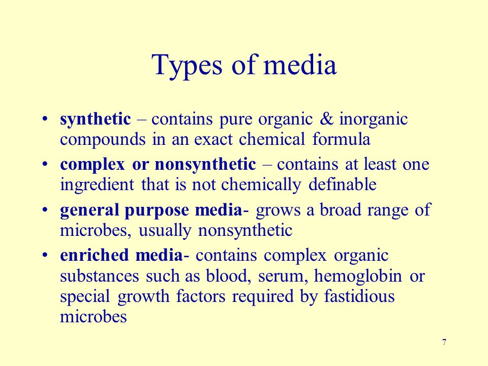 Types of media synthetic – contains pure organic & inorganic compounds in an exact chemical formula.