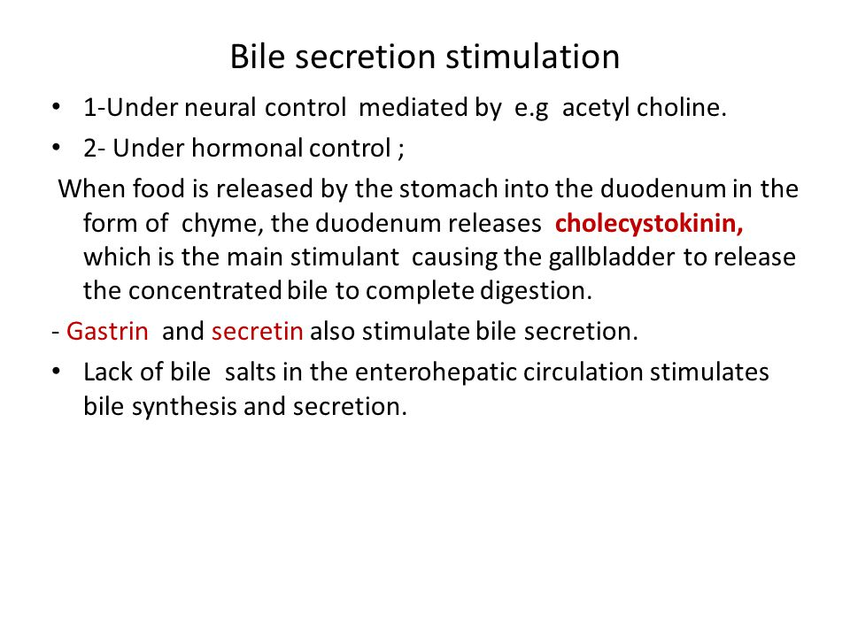 Bile secretion stimulation