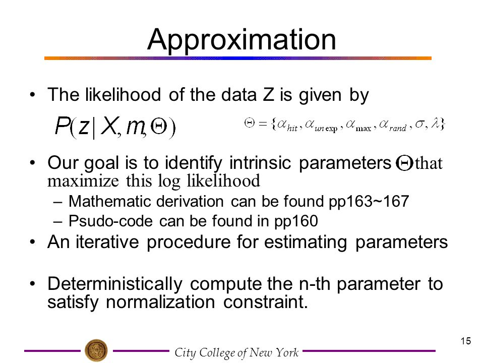 Approximation The likelihood of the data Z is given by
