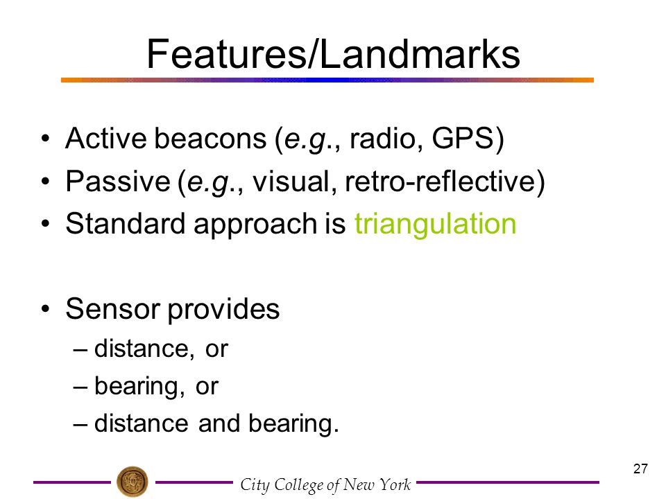 Features/Landmarks Active beacons (e.g., radio, GPS)