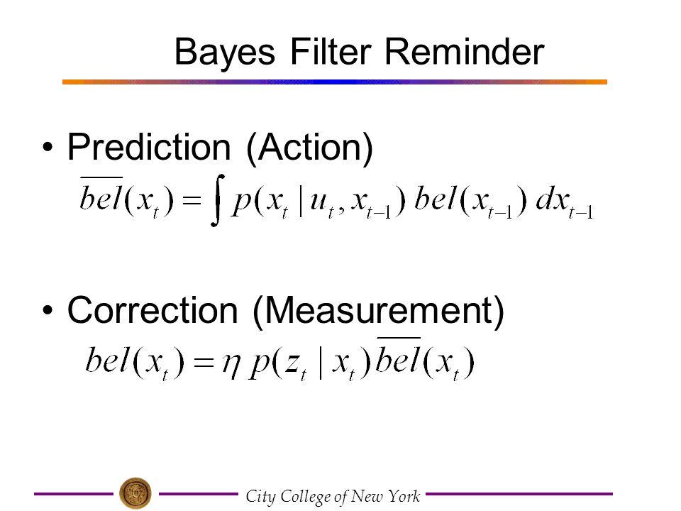 Bayes Filter Reminder Prediction (Action) Correction (Measurement)