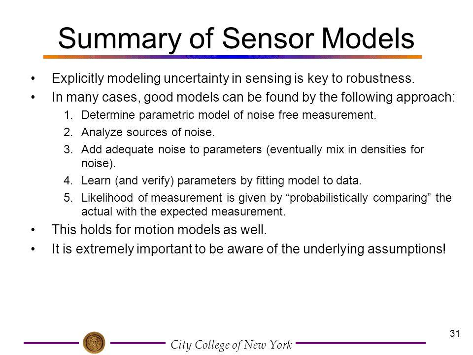 Summary of Sensor Models